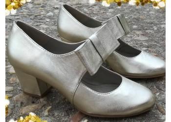 Goldie, zapato merceditas dorado fiesta 2020