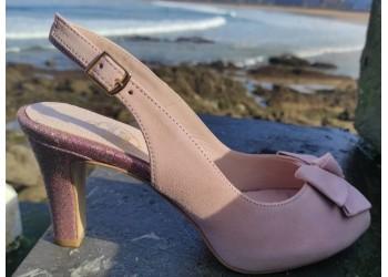 Andrea, Peep toe ante rosa y glitter con plataforma verano 2021